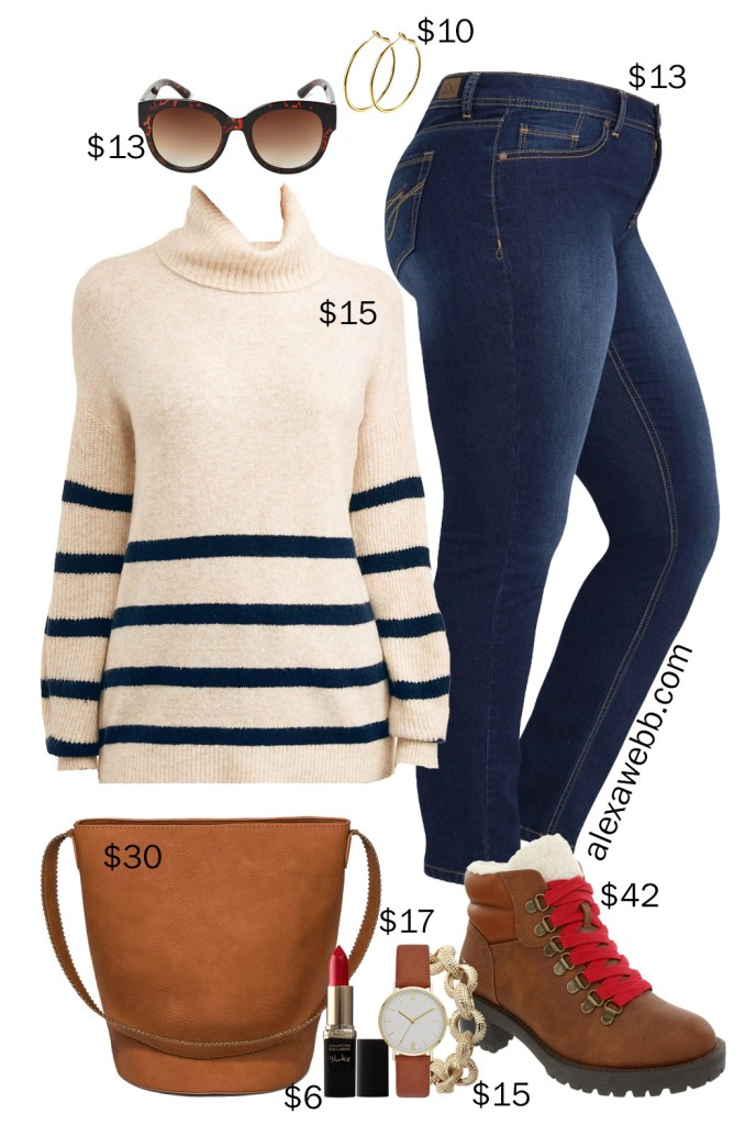 Plus Size on a Budget - Striped Sweater with Jeans and Hiker Boots - Alexa Webb