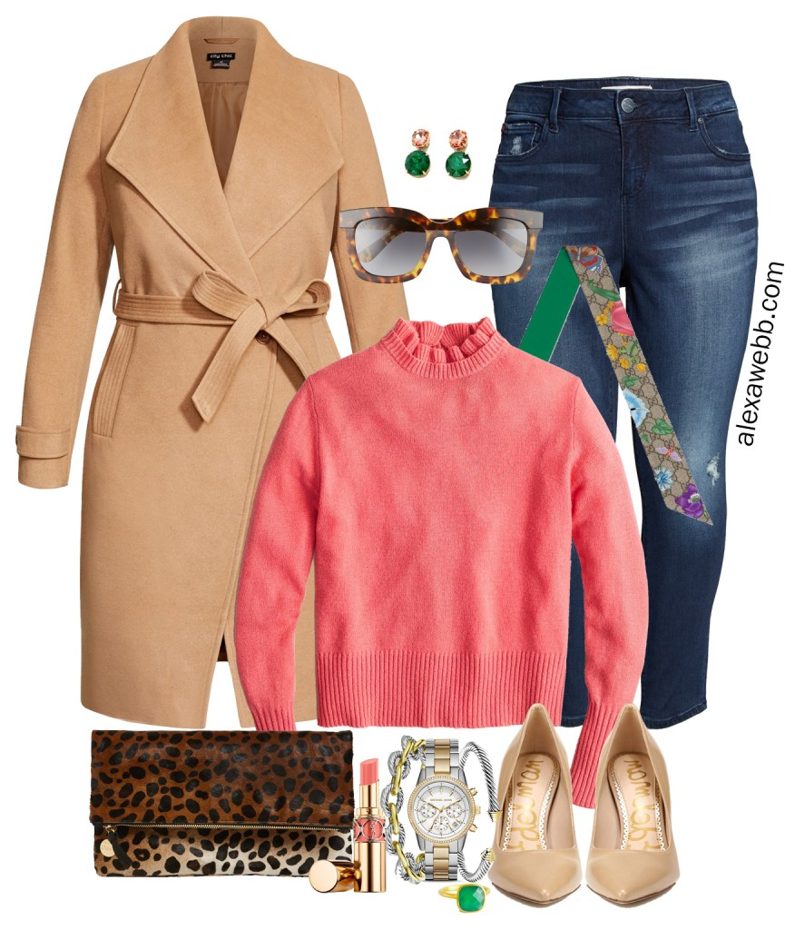 Plus Size Coral Sweater Winter Outfit with Camel Coat, Skinny Jeans, Leopard Clutch, Gucci Scarf, and Nude Pumps - Alexa Webb