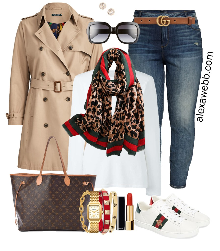 Plus Size Gucci Scarf Outfit Ideas - Jeans, Gucci Belt, Trench Coat, White T-Shirt, Gucci Sneakers, Louis Vuitton Neverfull - Alexa Webb - Plus Size Fashion for Women - #alexawebb #plussize