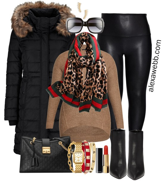 Plus Size Gucci Scarf Outfit Ideas - Faux Leather Leggings, Red Blazer, Tunic Sweater, Ankle Booties, Black Parka with Faux Fur-Trimmed Hood - Alexa Webb - Plus Size Fashion for Women - #alexawebb #plussize