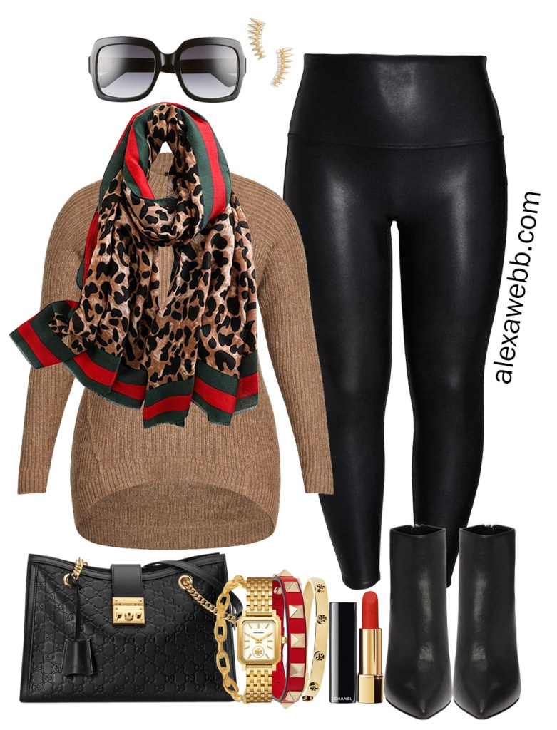 Plus Size Gucci Scarf Outfit Ideas - Faux Leather Leggings, Red Blazer, Tunic Sweater, Ankle Booties - Alexa Webb - Plus Size Fashion for Women - #alexawebb #plussize