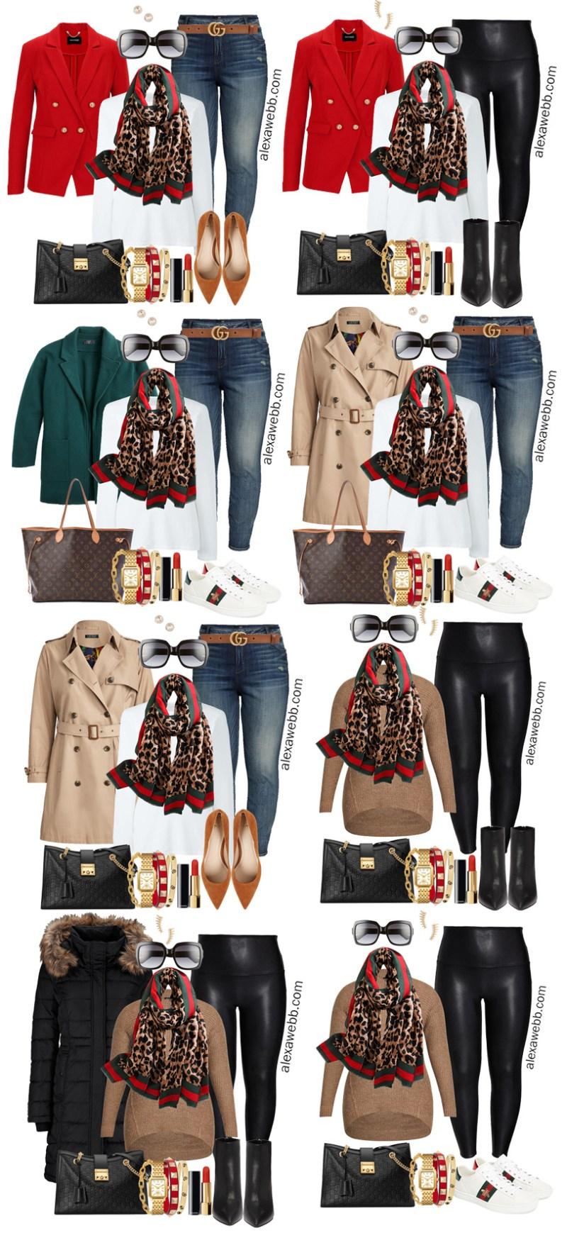 Plus Size Gucci Scarf Outfit Ideas - Jeans, Gucci Belt, Red Blazer, White T-Shirt - Alexa Webb - Plus Size Fashion for Women - #alexawebb #plussize