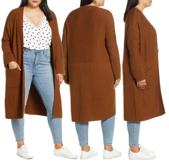 Plus Size Long Cardigan in Rust - Alexa Webb