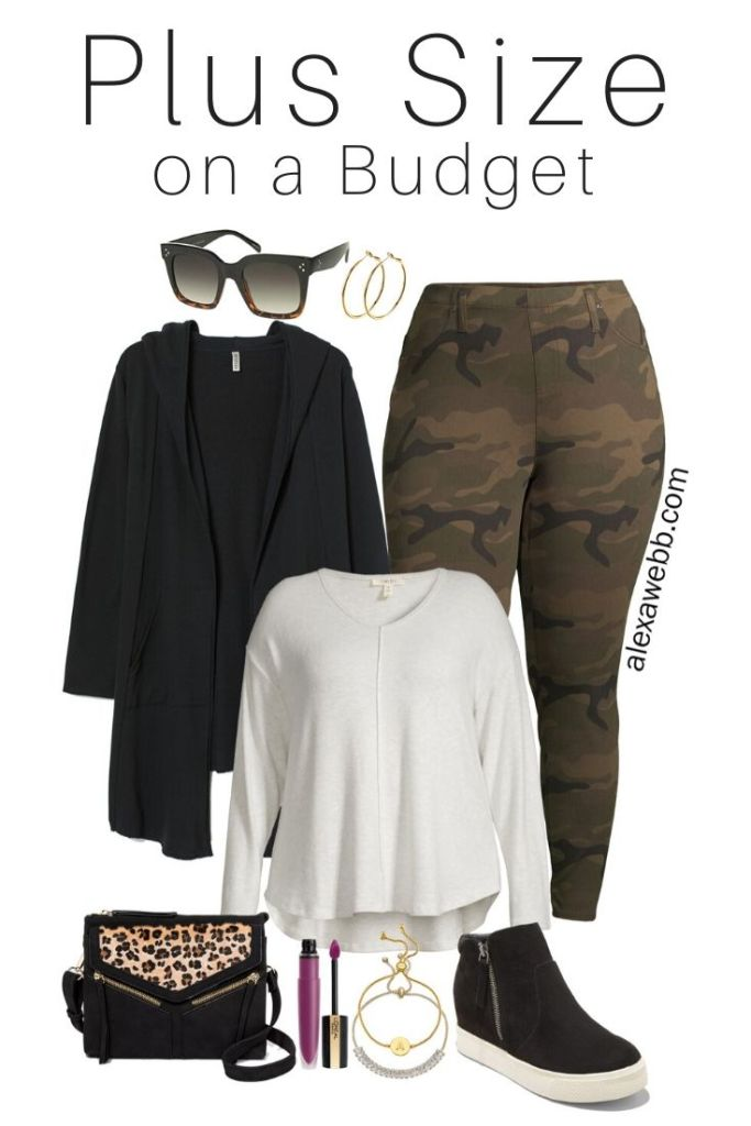 Plus Size on a Budget Outfit with Camo Pants, a Sweatshirt Hooded Cardigan, Wedge Sneakers, and a Leopard Crossbody Bag - Alexa Webb #plussize #alexawebb