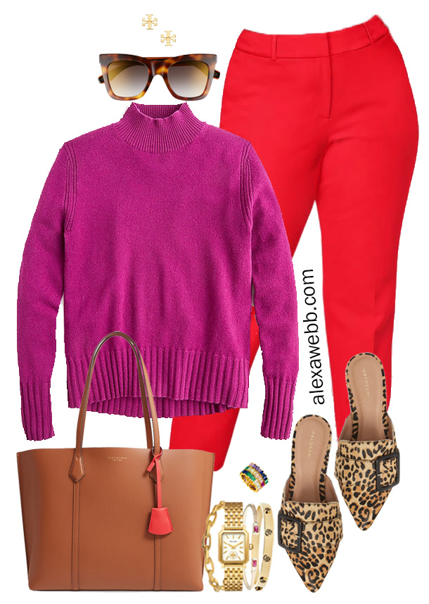 Plus Size Color Blocking - Purple JCrew Sweater, Red Pants, Leopard Mules, and Tote Bag - Alexa Webb