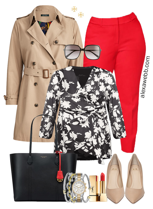 Plus Size Red Pants Outfit for Work with Black and White Top, Trench Coat, Tote Bag, and Nude Pumps - Alexa Webb #plussize #alexawebb