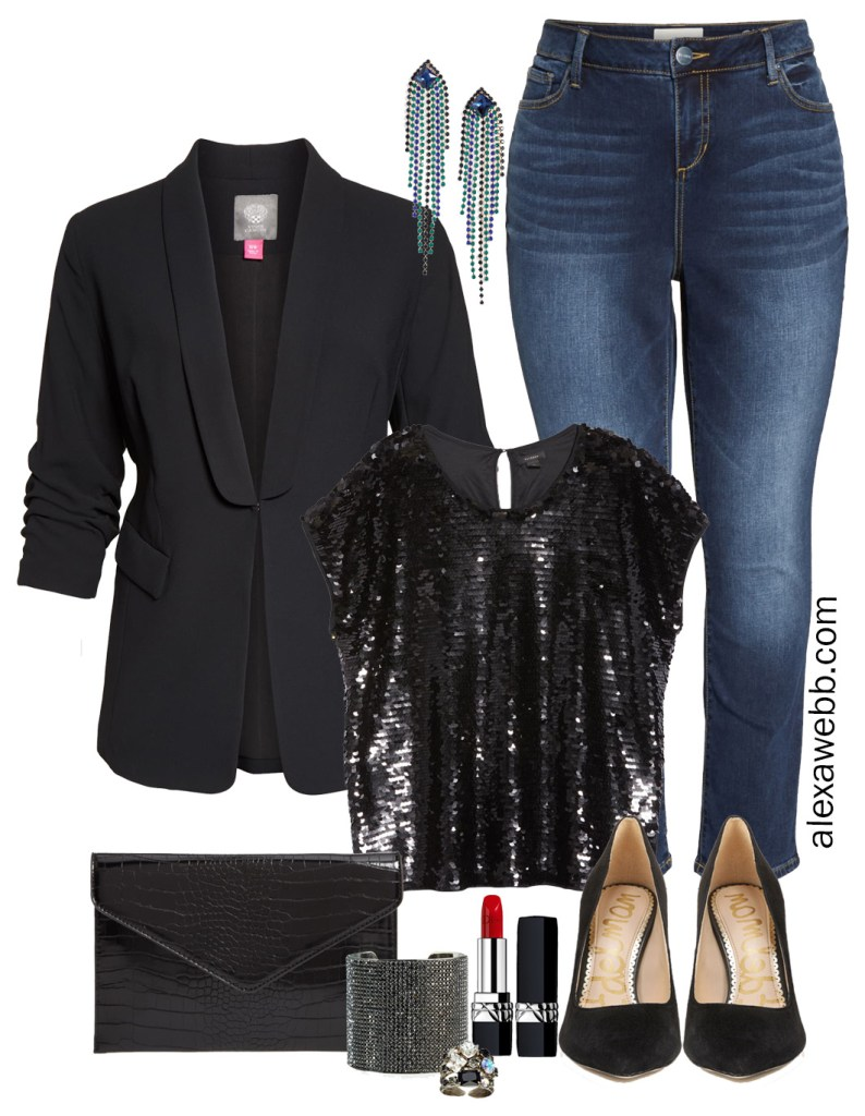 Plus Size New Year's Eve Outfit with black sequin top, black blazer, jeans, pumps, clutch, and statement crystal earrings - Alexa Webb