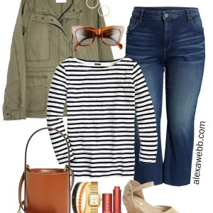 Plus Size Cropped Jeans Outfit with Kick Flare Jeans, Striped Boatneck T-Shirt, and Utility Jacket - Alexa Webb #plussize #alexawebb