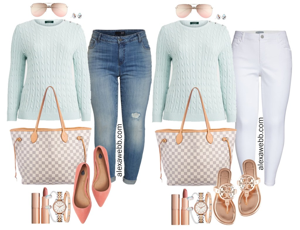 Plus Size Spring Transition Outfit with White Ankle Jeans, Cotton Aqua Sweater, Louis Vuitton Neverfull, Rose Gold Tory Burch Miller Sandals - Alexa Webb #plussize #alexawebb