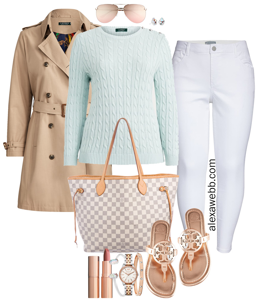 Plus Size Spring Transition Outfit with Trench Coat, White Ankle Jeans, Cotton Aqua Sweater, Louis Vuitton Neverfull, Rose Gold Tory Burch Miller Sandals - Alexa Webb #plussize #alexawebb