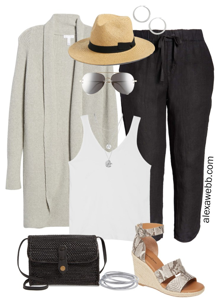Plus Size Linen Pants Outfit with Nordstrom - A dolman grey cardigan, tank top, and linen track pants or joggers, plus a Panama hat, snake espadrille sandals, rattan crossbody bag and aviator sunglasses - Alexa Webb #plussize #alexawebb