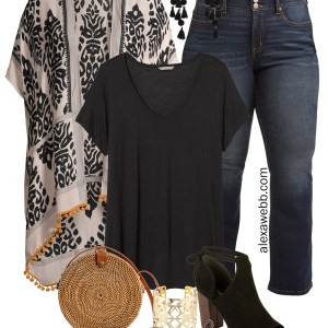 Plus Size on a Budget – Kimono Outfit with black t-shirt, bootcut jeans, rattan straw bag, boho accessories and statement earrings - Alexa Webb #plussize #alexawebb