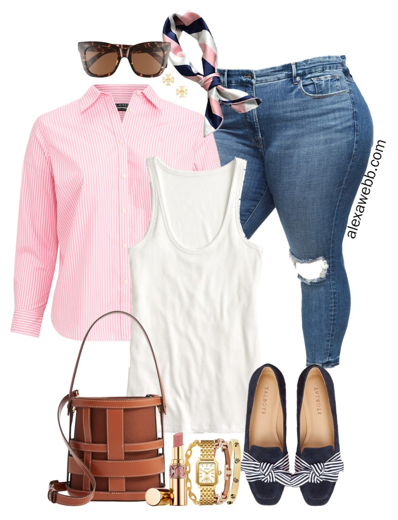 Plus Size Preppy in Pink Outfit - Plus Size Stripe Button Down with Jeans, Navy Bow Loafers, Bucket Bag, and Hair Scarf, Perfect for Spring! Alexa Webb #plussize #alexawebb