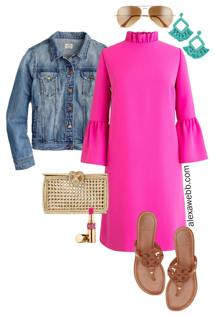 Plus Size Pink Shift Dress with Outfit Ideas for Day - Plus Size Denim Jacket, Statement Earrings and Sandals - Alexa Webb #plussize #alexawebb