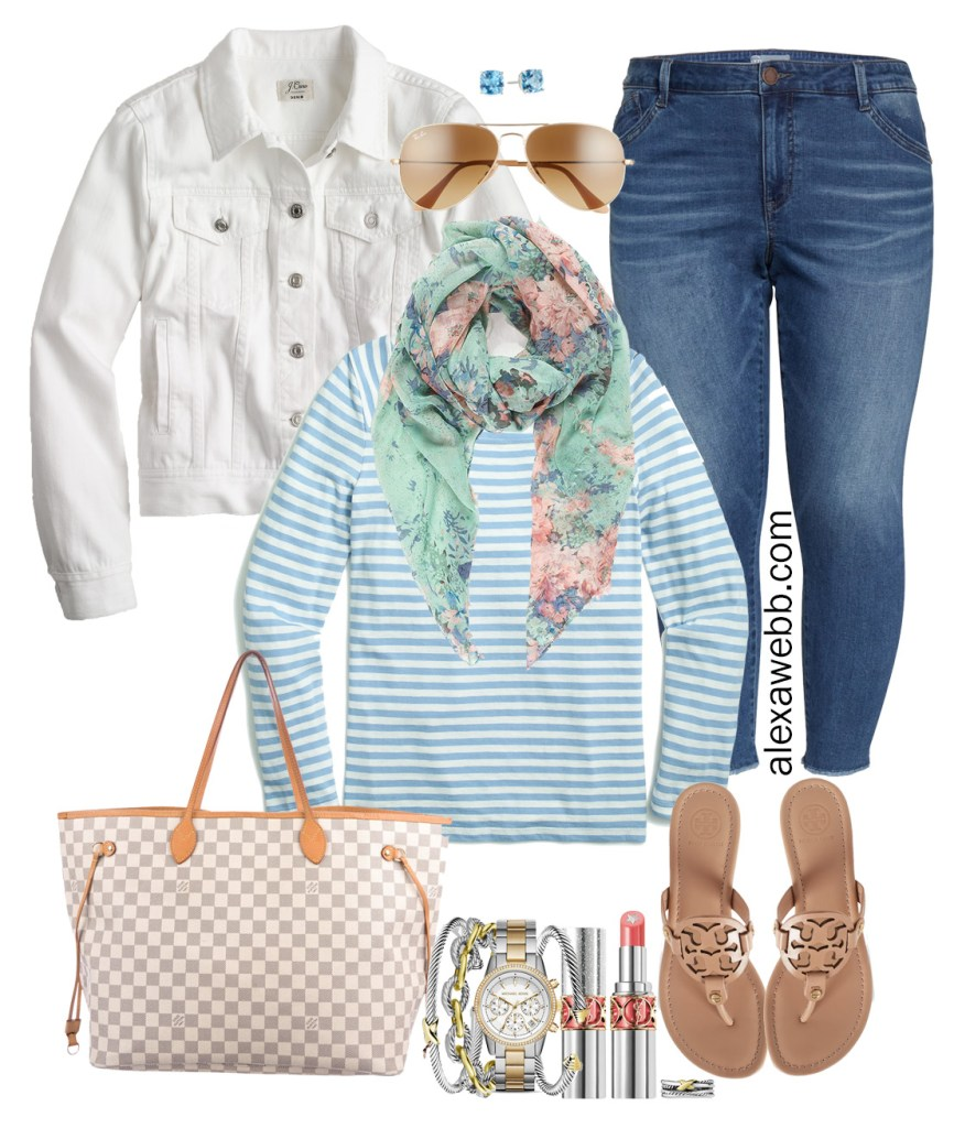 Plus Size Early Spring Outfit Ideas with White Denim Jacket, Jeans, Blue Stripe Tee, Floral Scarf, Tory Burch Sandals, and Louis Vuitton Neverfull - Alexa Webb #plussize #alexawebb