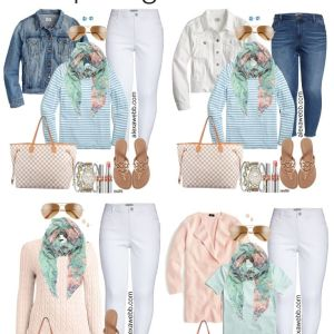 Plus Size Early Spring Outfit Ideas with White Jeans, Blush Pink Cardigan, Aqua Mint Tee, Floral Scarf, Tory Burch Sandals, and Louis Vuitton Neverfull - Alexa Webb #plussize #alexawebb