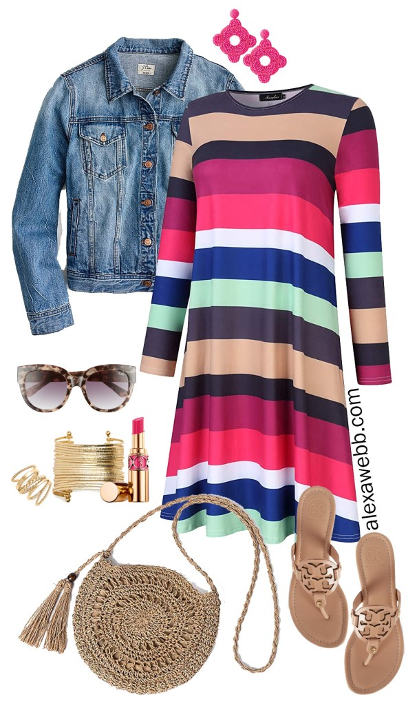 "Plus Size Stripe T-Shirt Dress Outfit with Amazon dress, denim jacket, Tory Burch sandals in ""Makeup,"" rattan crossbody bag, and statement earrings - Alexa Webb #plussize #alexawebb"