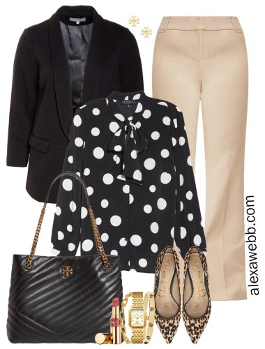 Plus Size Tan Trousers & Black Blazer Outfits for Work with Polka Dot Blouse, Leopard Pumps, and Tory Burch Quilted Tote Bag - Alexa Webb #plussize #alexawebb