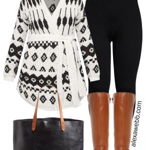 Plus Size Wrap Cardigan Outfit with Leggings and Wide Calf Boots. A trendy winter outfit idea. Plus Size Fashion for Women - Alexa Webb #plussize #alexawebb