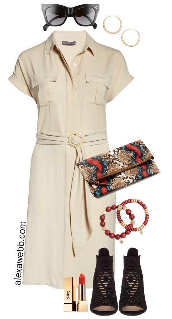 Plus Size Safari Dress with Snake Clutch, Wood Bracelets, and Peep-toe Booties - Alexa Webb #Plussize #Alexawebb