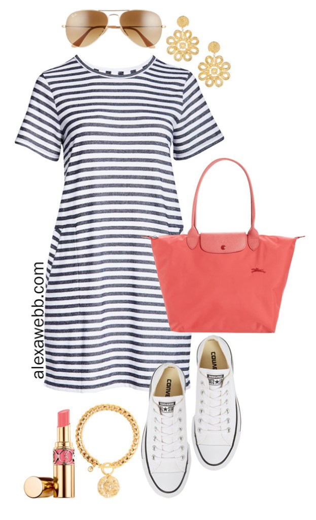 Plus Size Stripe T-Shirt Dress with Aviator Sunglasses, Coral Tote Bag, Platform Converse Sneakers - Plus Size Summer Vacation Outfit - Alexa Webb #alexawebb #olussize