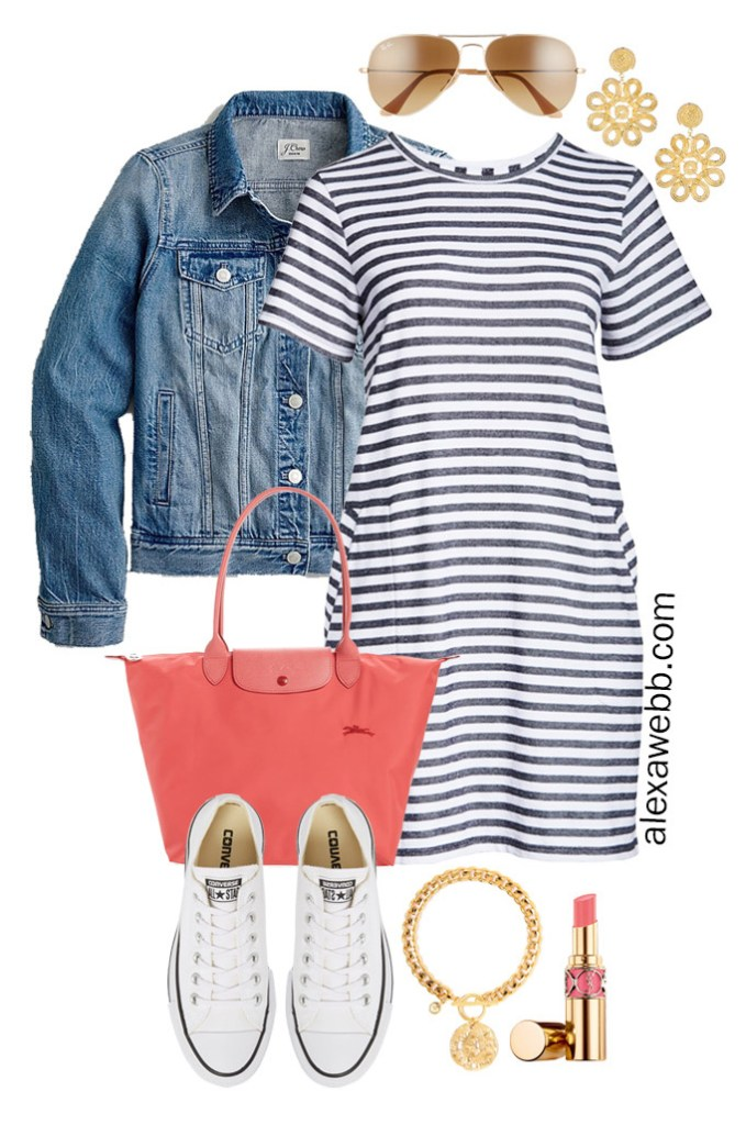 Plus Size Stripe T-Shirt Dress with Aviator Sunglasses, Coral Tote Bag, Platform Converse Sneakers, Denim Jacket - Plus Size Summer Vacation Outfit - Alexa Webb #alexawebb #olussize