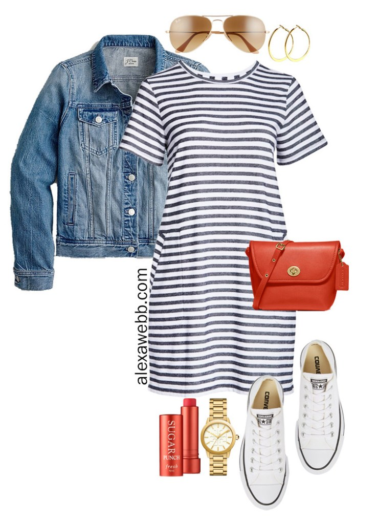 Plus Size Stripe T-Shirt Dress with Aviator Sunglasses, Red Crossbody Bag, Platform Converse Sneakers, and Denim Jacket - Plus Size Summer Vacation Outfit - Alexa Webb #alexawebb #olussize