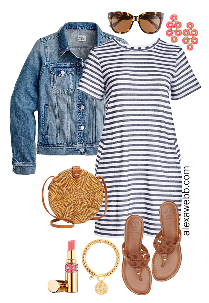 Plus Size Stripe T-Shirt Dress Outfit with Statement Earrings, Rattan Crossbody, and Tory Burch Miller Sandals - Alexa Webb #plussize #alexawebb