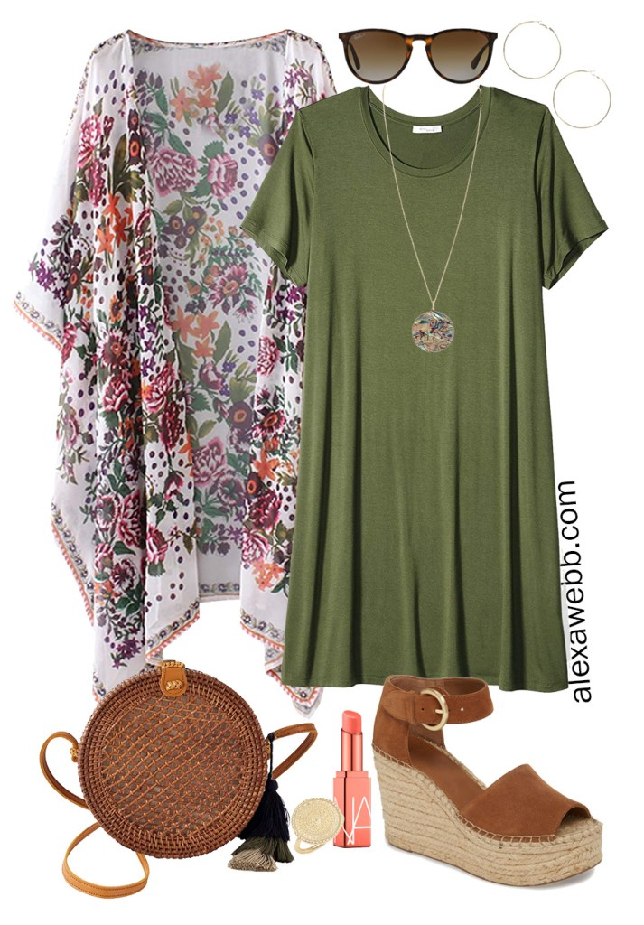 Plus Size Beach Vacation Outfits with a t-shirt dress, boho kimono, straw rattan crossbody, and platform espadrilles. Alexa Webb #plussize #alexawebb