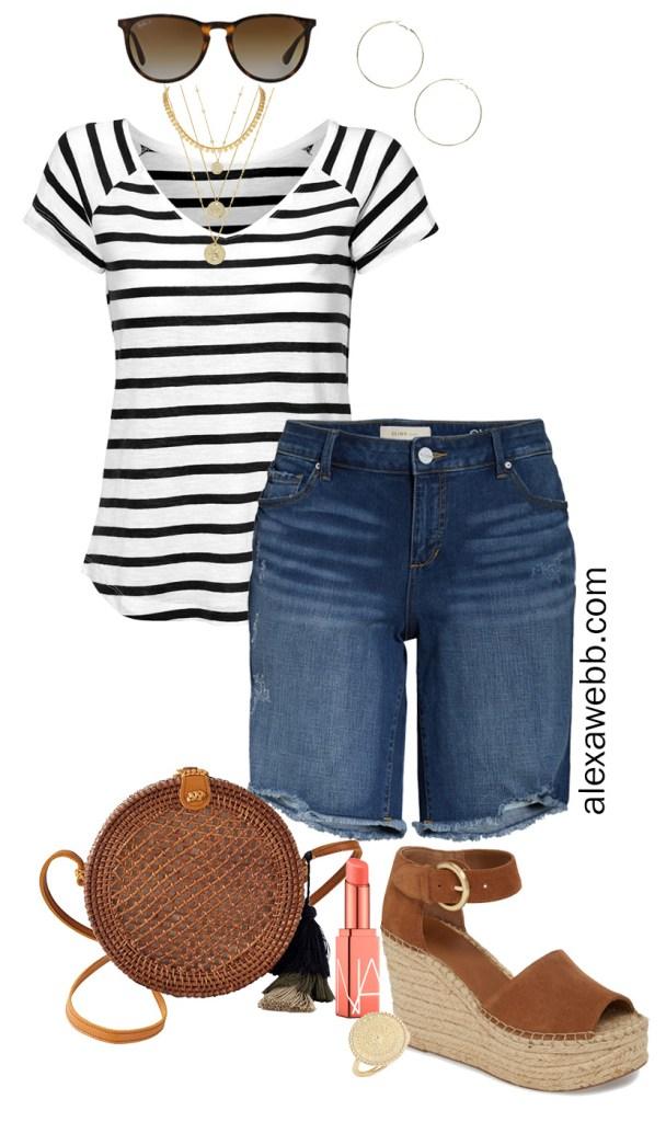 Plus Size Beach Vacation Outfit Idea with Striped Tee, Denim Bermuda Shorts and Platform Espadrille Sandals - Alexa Webb #plussize #alexawebb