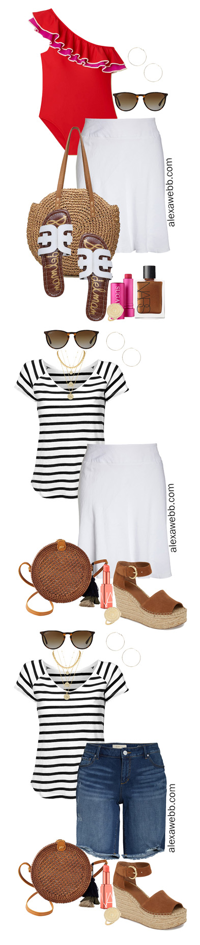 Plus Size Beach Vacation Outfits with a red swimsuit, white skirt, slide sandals, and straw tote. Alexa Webb #plussize #alexawebb