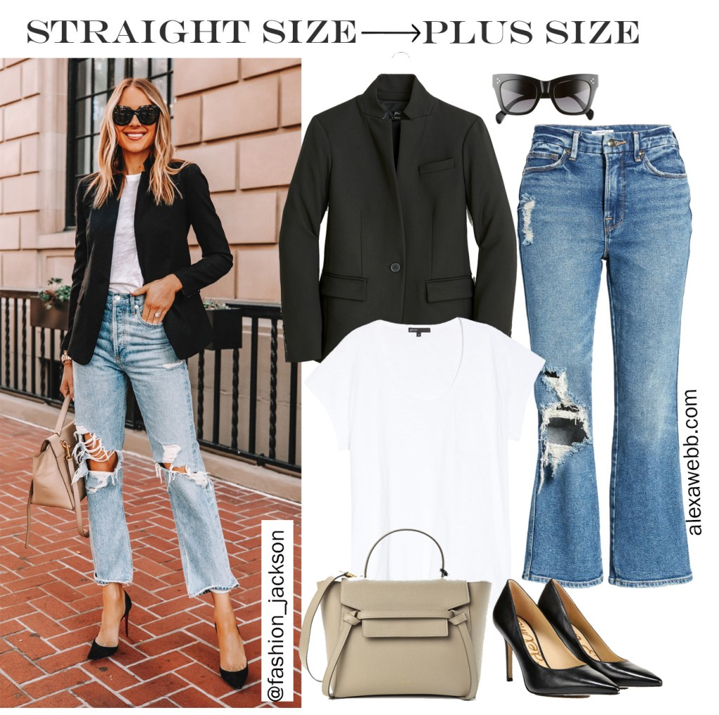 Straight Size to Plus Size - Blazer and Jeans Oufit with distressed cropped straight leg jeans, a black blazer, and t-shirt. Plus SIze Fashion for Women from Alexa Webb. #plussize #alexawebb