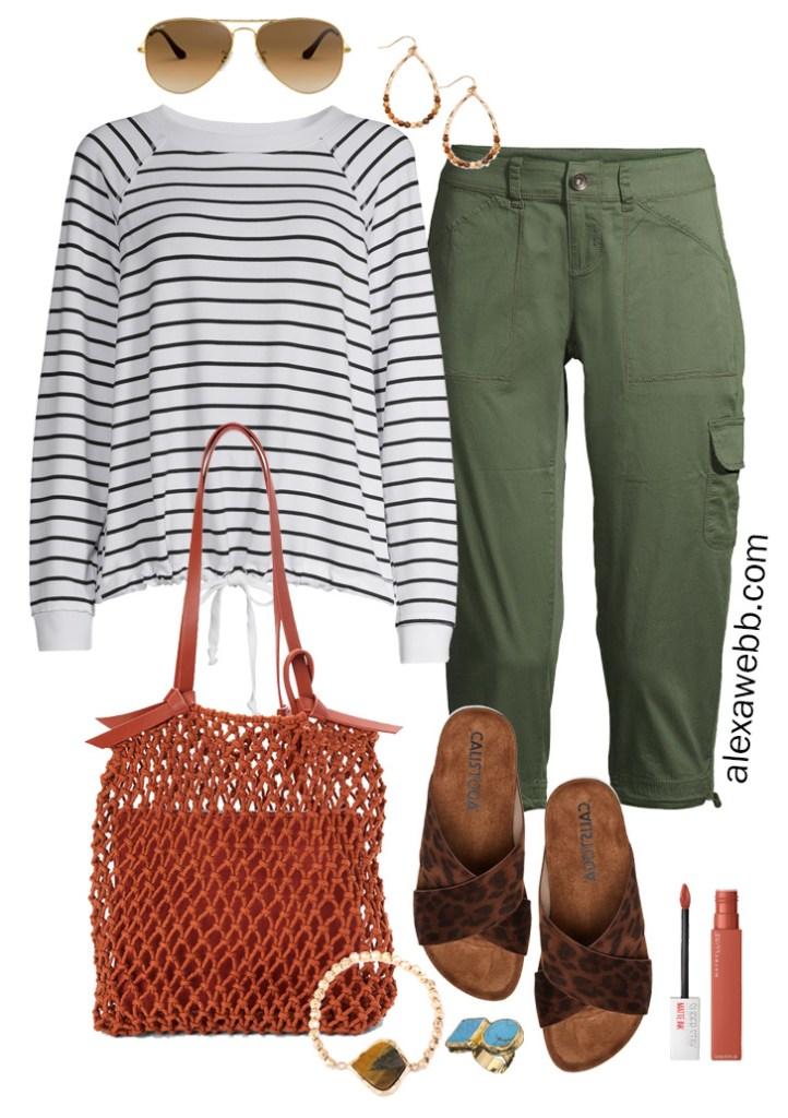 Plus Size Green Cargo Capri Outfit Idea with Striped Sweatshirt, Leopard Sandals, Rust Macrame Bag, and Boho Jewelry - Alexa Webb #plussize #alexawebb