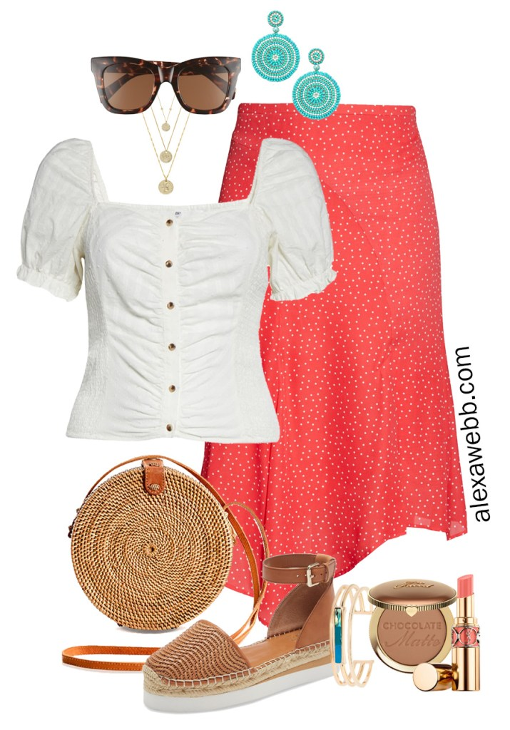 Plus Size Coral Skirt Outfit for Spring and Summer with square neck top, espadrille sandals, and rattan crossbody bag - Alexa Webb #plussize #alexawebb