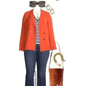 Plus Size on a Budget – Orange Blazer with stripe top, flare jeans, bucket bag, and sandals - Alexa Webb #plussize #alexawebb