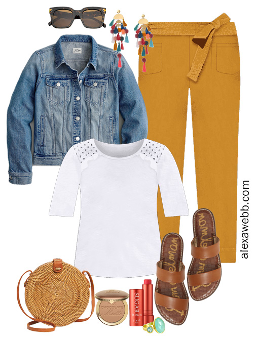 Plus Size Spring Outfit with rust pants, white top, and denim jacket - Alexa Webb #plussize #alexawebb