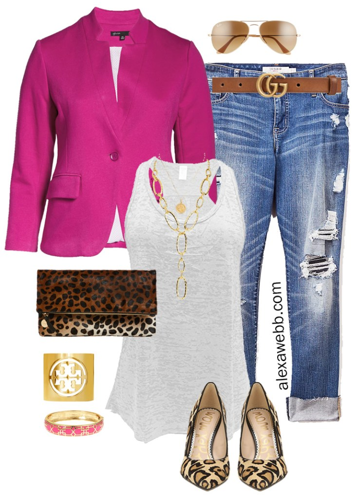 Plus Size Pink Blazer & Jeans, Leopard Heels and Clutch, with Distressed Boyfriend Jeans - Alexa Webb #plussize #alexawebb
