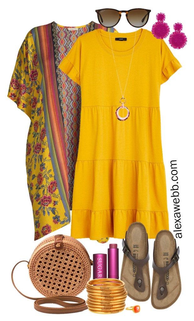 Plus Size Casual Summer Dress Outfits with a mustard yellow tiered knit dress, kimono, rattan canteen bag, and Birkenstock sandals - Alexa Webb #plussize #alexawebb #curvyfashion