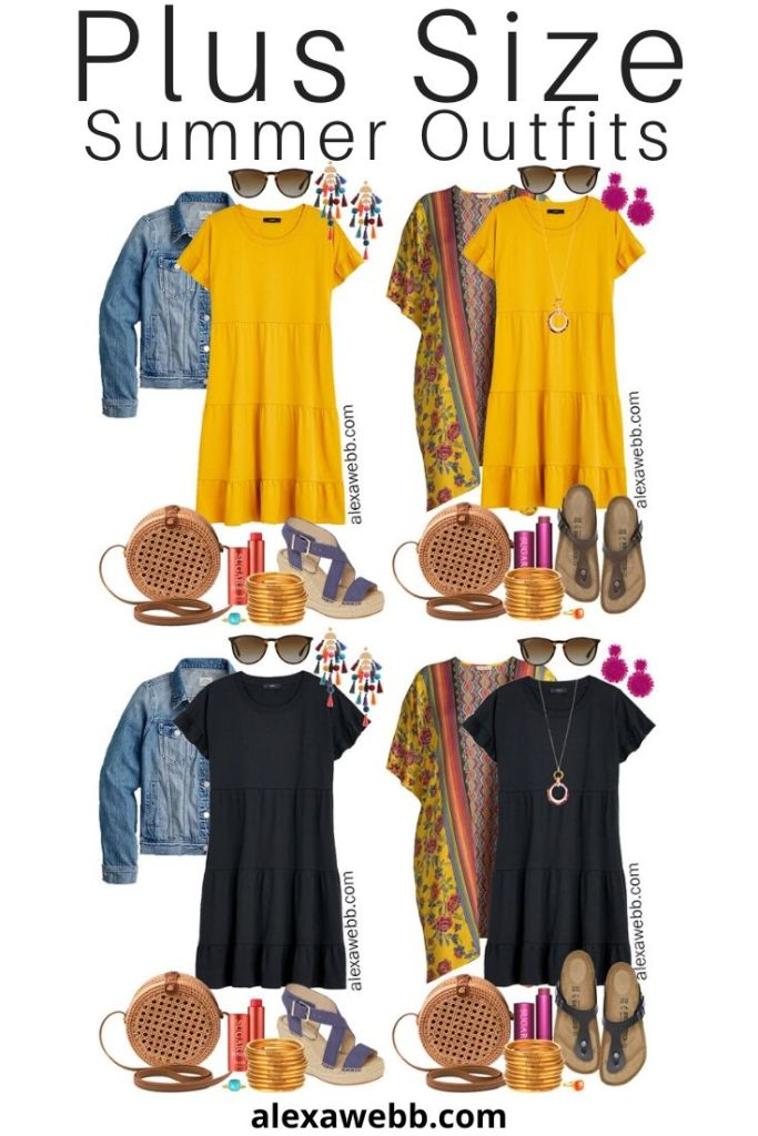 Plus Size Casual Summer Dress Outfits with a tiered knit dress, denim jacket or kimono, rattan canteen bag, and wedge espadrille sandals or Birkenstocks - Alexa Webb #plussize #alexawebb #curvyfashion