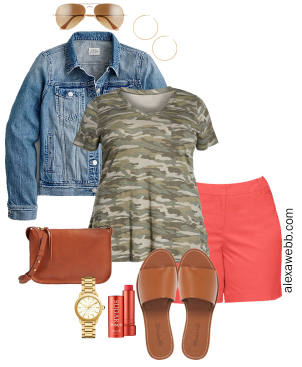 Plus Size Coral Shorts Outfit with Camo T-Shirt, Denim Jacket, Crossbody Bag, Slide Sandals, and Hoop Earrings - Alexa Webb #plussize #alexawebb