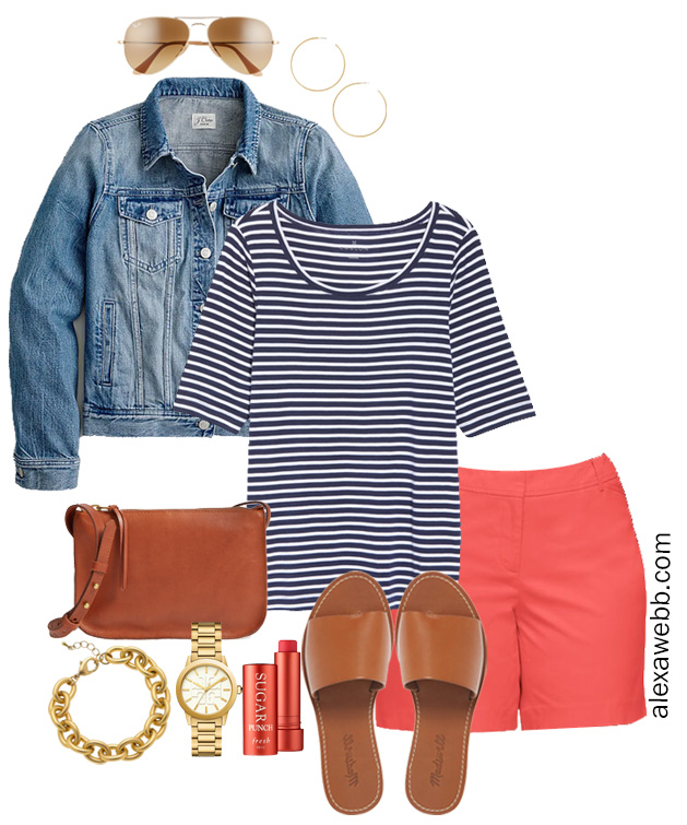 Plus Size Coral Shorts Outfit with Navy Striped T-Shirt - Alexa Webb #Plussize #AlexaWebb