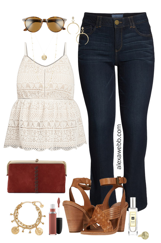 Plus Size Lace Top Outfit with Jeans, Heeled Sandals, Clutch, and Boho Vibes - Alexa Webb #plussize #alexawebb #boho
