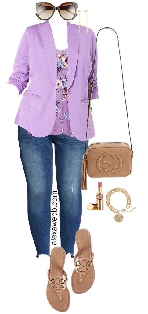 Plus Size Lavender Blazer Casual Outfit Idea with Jeans, Sandals, and a Floral Babydoll Top - Alexa Webb #plussize #alexawebb