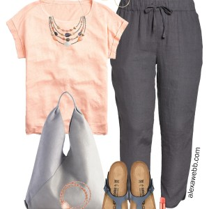Plus Size Linen Track Pants Outfit with a t-shirt, statement necklace, and Birkenstock sandals - Alexa Webb #Plussize #Alexawebb