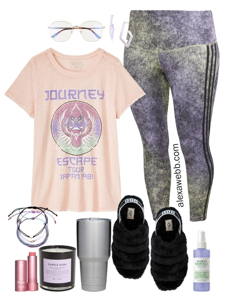 Plus Size Stay At Home Outfit with Tie-Dye Leggings, Graphic T-Shirt, UGG Slippers, and Blue Light Blocking Glasses - Alexa Webb #plussize #alexawebb