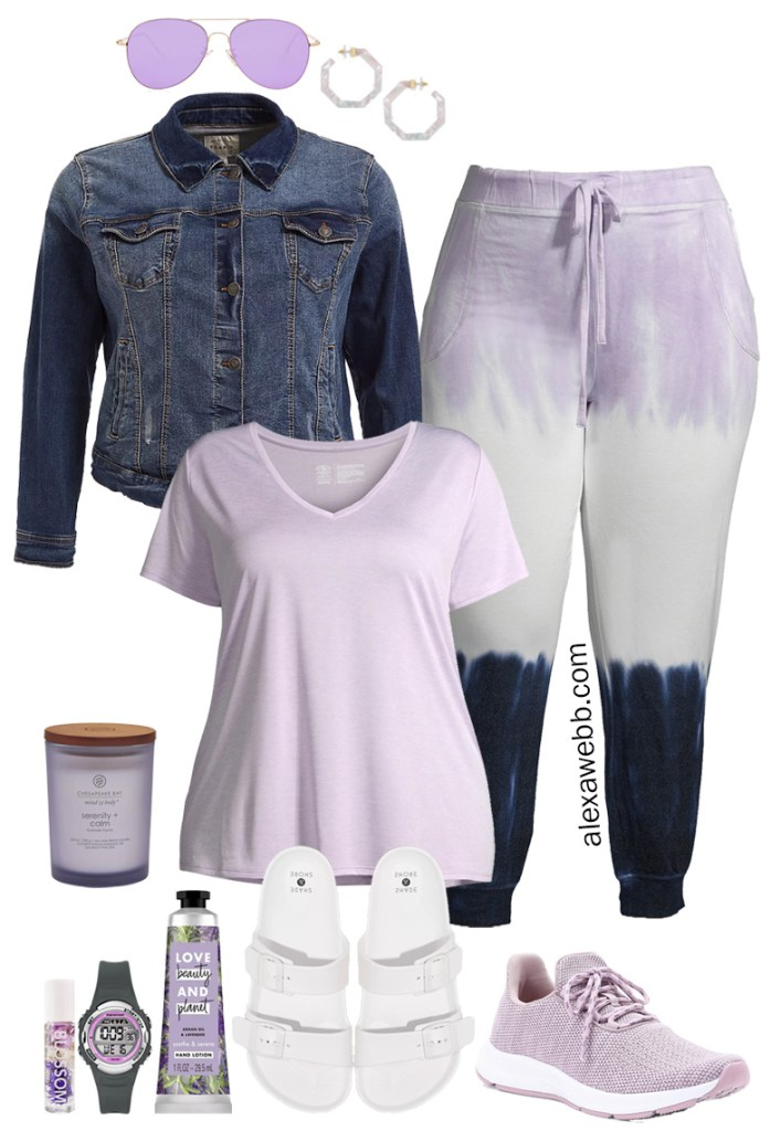 Plus Size on a Budget - Stay Home Outfit - Plus Size Sweatpants, T-Shirt, and Denim Jacket with Sandals or Sneakers - Loungewear - Alexa Webb #plussize #alexawebb