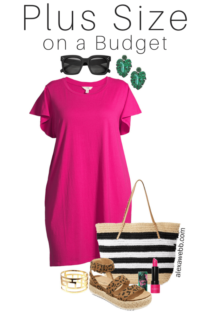 Plus Size on a Budget - Pink T-Shirt Dress Outfit with Palm Leaf Earrings, Straw Tote, and Leopard Espadrille Sandals - Alexa Webb #plussize #alexawebb