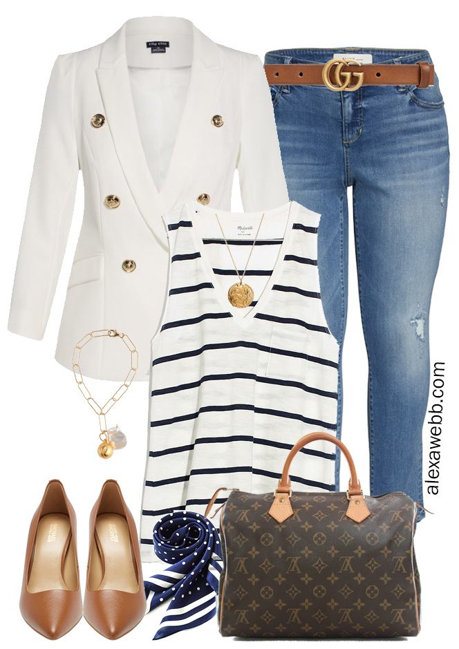 Plus Size White Blazer & Jeans with a Striped Tank, Gucci Belt, and Louis Vuitton Speedy - Alexa Webb #Plussize #Alexawebb