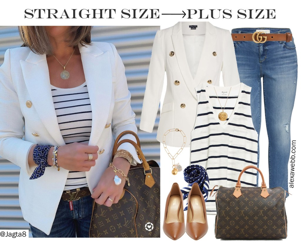 Straight Size to Plus Size - White Blazer & Jeans with a Striped Tank, Gucci Belt, and Louis Vuitton Speedy - Alexa Webb #Plussize #Alexawebb