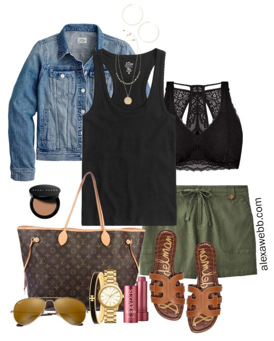 Plus Size Khaki Shorts Outfits with Linen Green Shorts, Black Tank Top, Lace Bralette, Denim Jacket, Louis Vuitton Neverfull, Flat Sandals - Alexa Webb #plussize #alexawebb